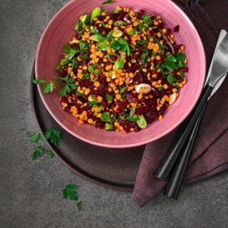 Σαλάτα με κόκκινες φακές και παντζάρια